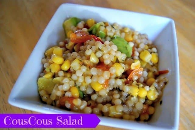 bowl of avocado and couscous salad