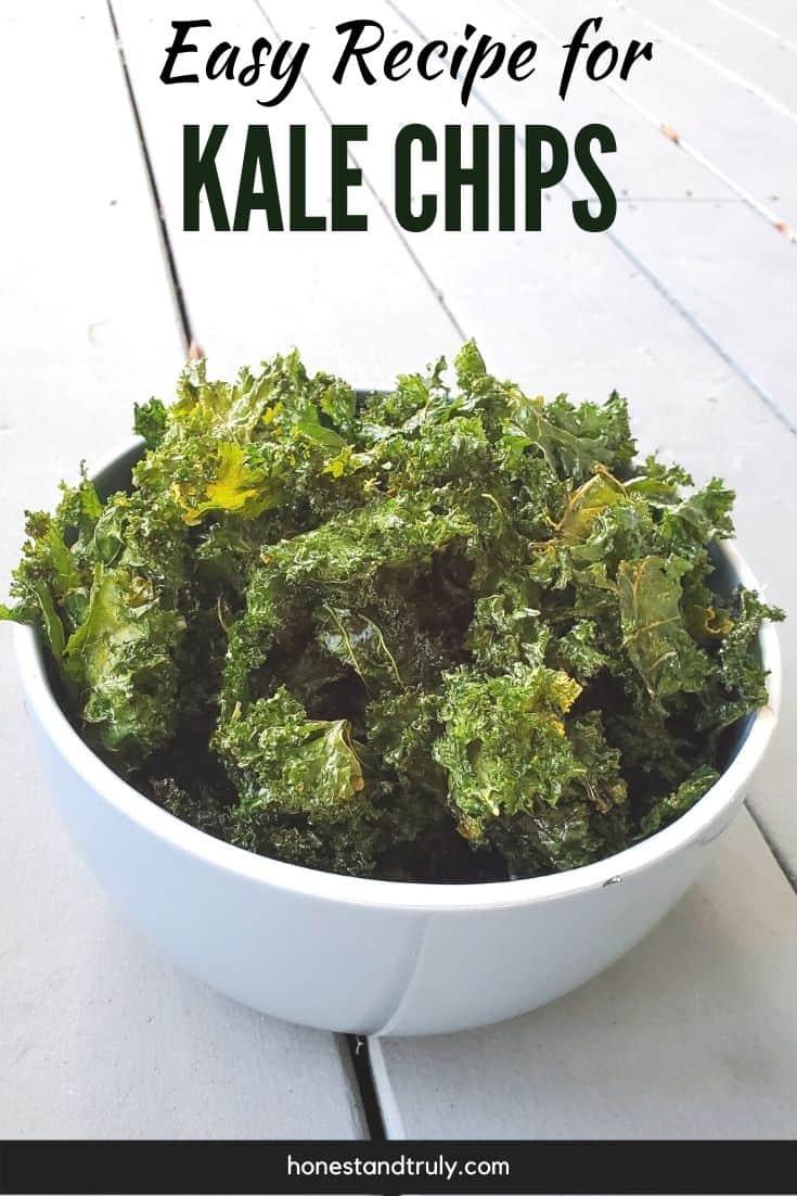 Bowl of baked kale chips