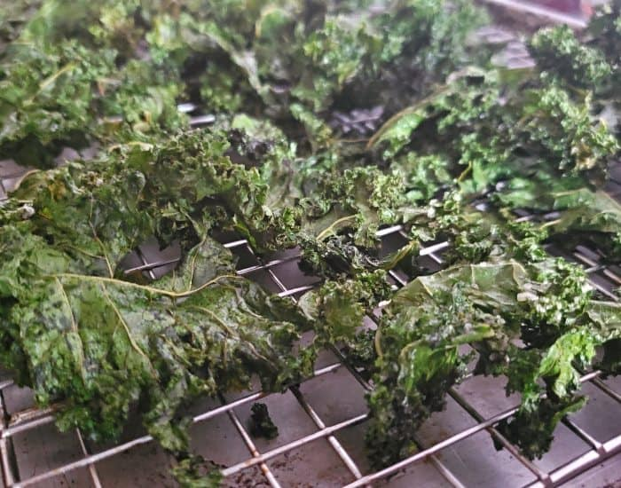 Tray of baked kale chips
