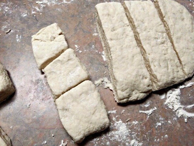 Cut biscuits for baking