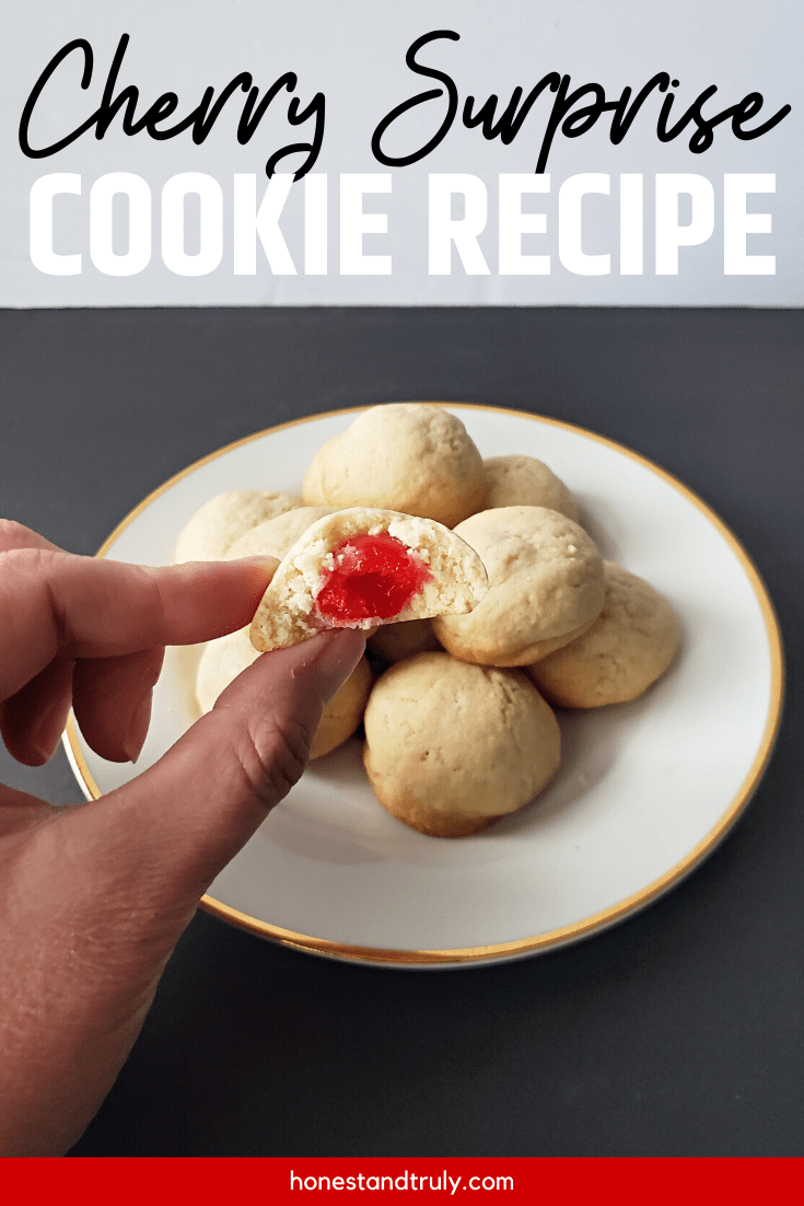 Single cherry surprise cookie in hand