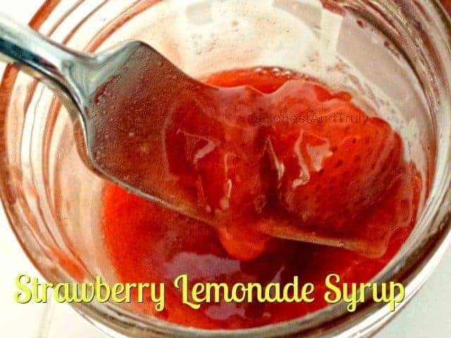 Strawberry lemonade syrup is easy to make and oh so tasty. It's a little bit of summer in a jar, ready to top pancakes, ice cream, or anything in between. #strawberry #lemonade #syrup #glutenfree