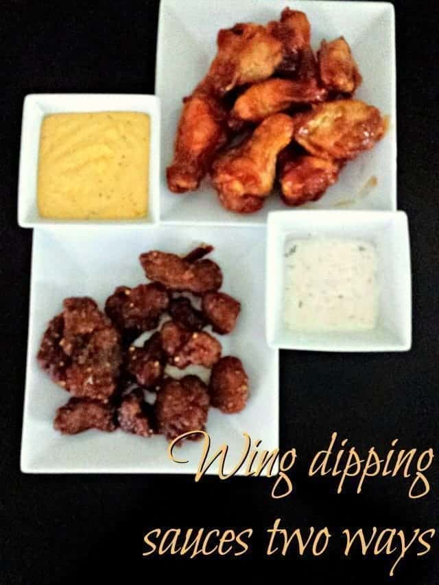 Two kinds of wing dipping sauces, both easy and quick to make. The creamy Italian dipping sauce has a ton of flavor and complements the cheesy buffalo dipping sauce perfectly. One gets served hot, the other cold - and both go great with hot wings! Even better? Both are naturally gluten free so perfect for potluck parties. #dips #appetizers #hotwings #easyrecipes