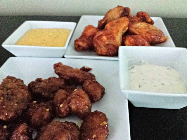 Wings with dipping sauces