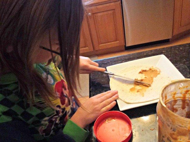 Spreading peanut butter