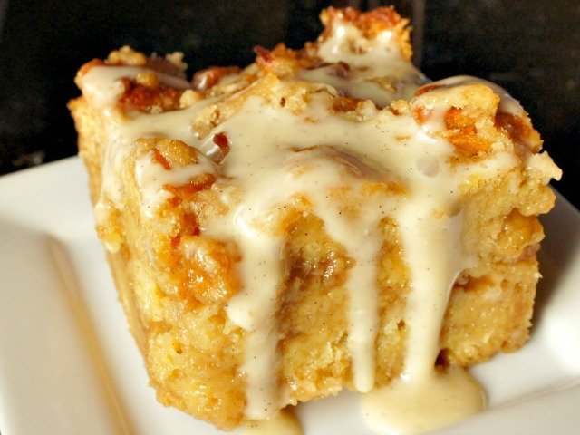 cinnamon roll bread pudding slice