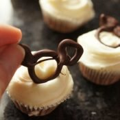 Adding mickey ears to cupcakes