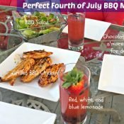 Perfect Fourth of July BBQ Menu Ideas and Recipes. Red white and blue lemonade, bbq chicken on the grill, homemade bbq sauce salad dressing and salad, and chocolate bark s'mores to finish off the meal!