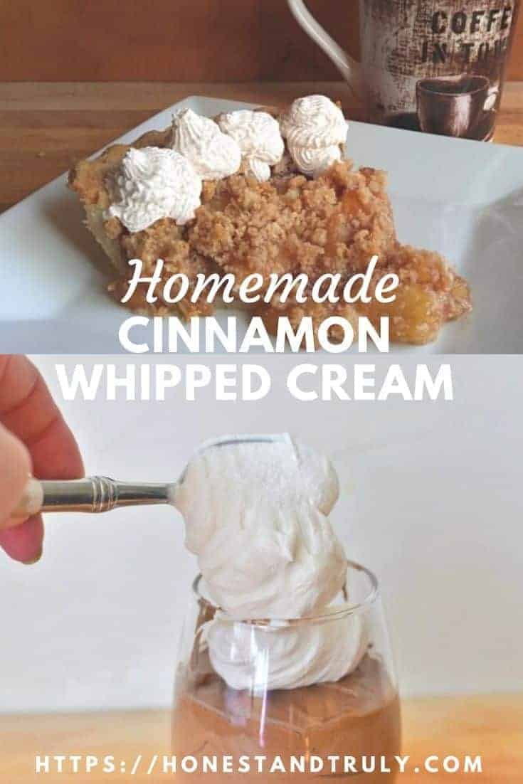 This homemade cinnamon whipped cream is such an easy recipe. It's the perfect dessert topping for everything from apple pie to a hot fudge sundae to chocolate mousse and more. This naturally gluten free whipped topping has just a few ingredients to make it a unique dessert everyone will love. You'll never buy the (more expensive!) canned stuff again! #whippedcream #cinnamon #desserts #easyrecipes #glutenfree #whippedtopping #uniquerecipes #easydesserts