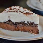Slice of dairy free gluten free vegan ice cream cake
