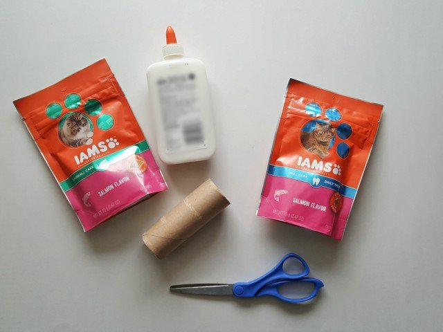 Items needed for DIY cat treat dispenser