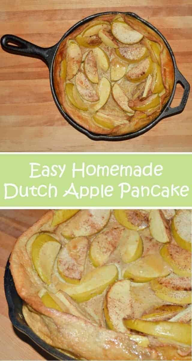 Homemade apple pancake. Just like the pannekoeken from the Dutch, this protein heavy breakfast is made in a cast iron skillet and is ready in about a half hour. Fairly low in sugar, this is a great twist on breakfast for dinner and an easy recipe to make.