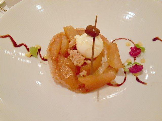 Caramelized apple dessert at the Carnival Steakhouse dinner