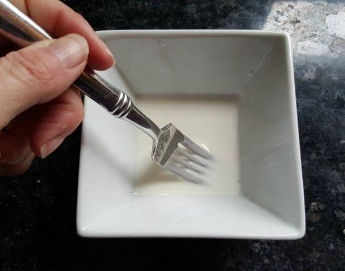 Stir cornstarch slurry with a fork