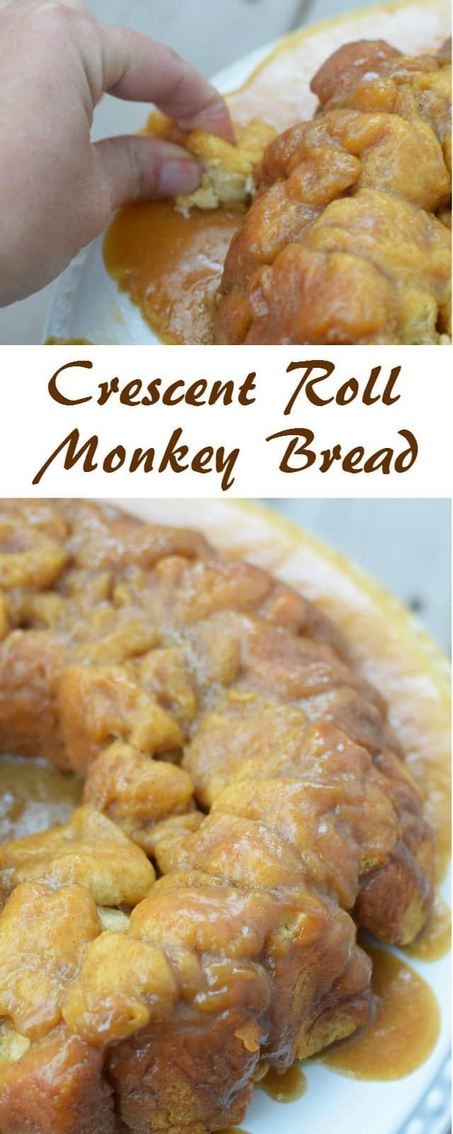 Delicious and easy crescent roll monkey bread recipe. This comes together quickly for a special occasion breakfast for company or a fun weekend treat for your family brunch. #brunch #monkeybread #easyrecipes #semihomemade