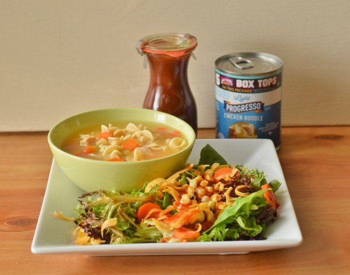 Soup and salad dinner with easy bbq vinaigrette recipe