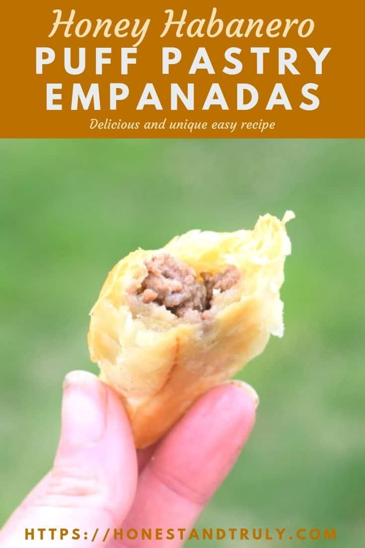 Delicious honey habanero homemade beef empanadas recipe using puff pastry. This easy appetizer is portable and has fantastic flavor for your summer picnics and more. #puffpastry #empanadas #habanero #appetizers