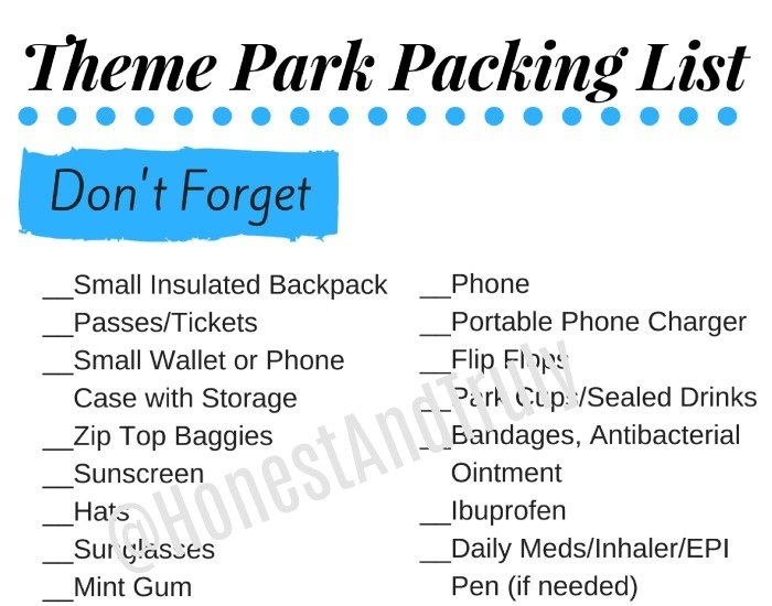 Ultimate theme park packing list printable