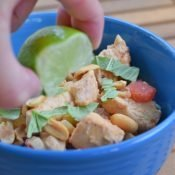 Squeeze lime over thai chicken chili