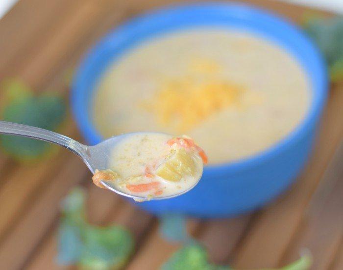 Winter comfort food cheddar broccoli soup