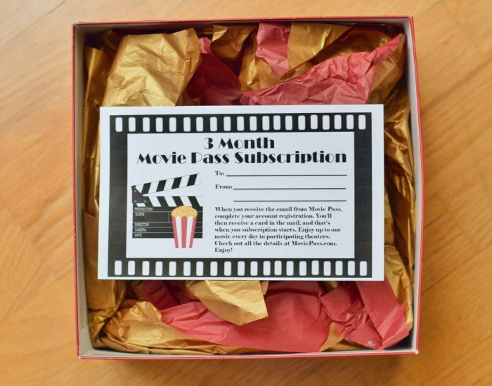 3 Month Movie Pass gift certificate in a box