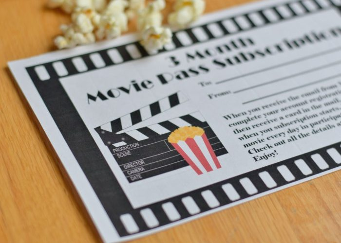 Movie Pass Gift Certificate Printable for Gift Giving
