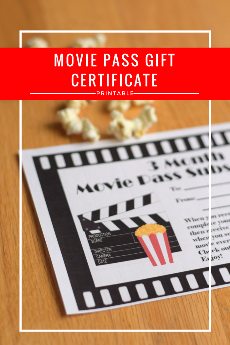 Did you gift a Movie Pass subscription? Use this free printable for a gift certificate. Customized for 3, 6, and 6 month gift subscriptions to MoviePass.com