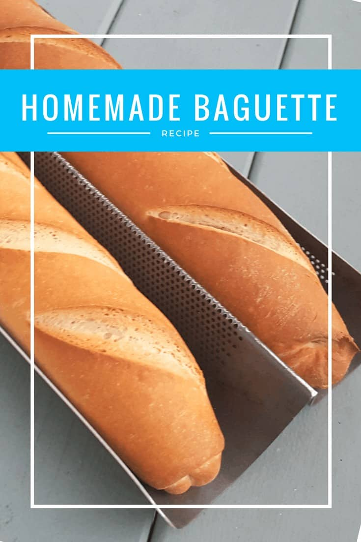 Simple homemade baguette recipe. Make homemade bread at home and get over your fear of yeast with this no fail recipe #baguette #frenchbread #bread #easyrecipe