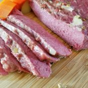 Slices of perfect easy homemade corned beef recipe