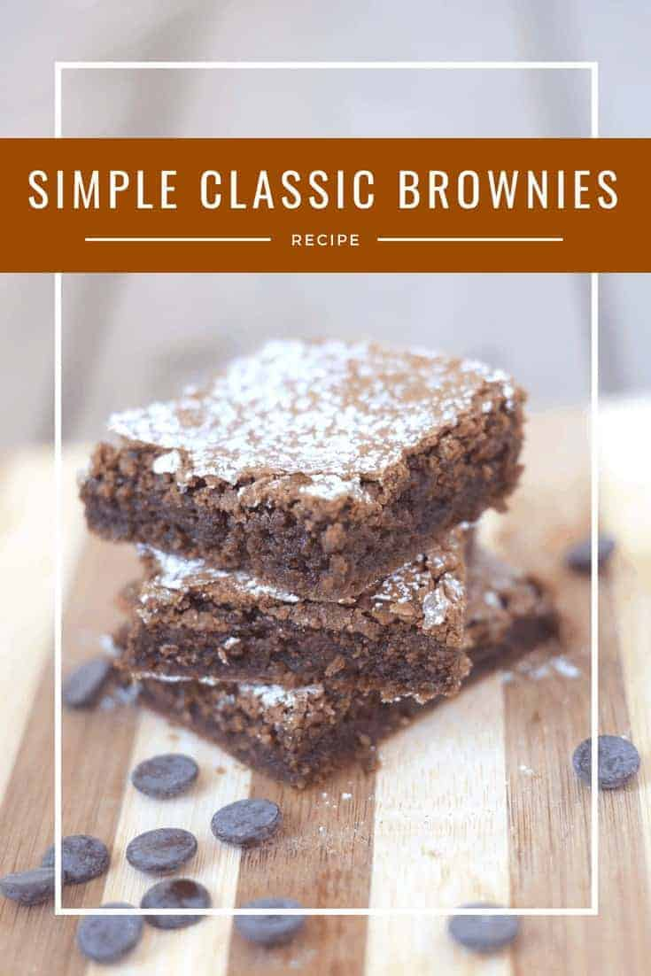 Easy classic brownies recipe - they're so soft and fudgy and absolutely delicious. This is the best homemade brownie recipe I've ever made. Such a perfect dessert for a potluck - just finish it with powdered sugar or add a simple chocolate frosting if you choose.