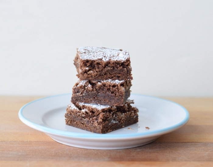 Plate of perfect homemade brownies