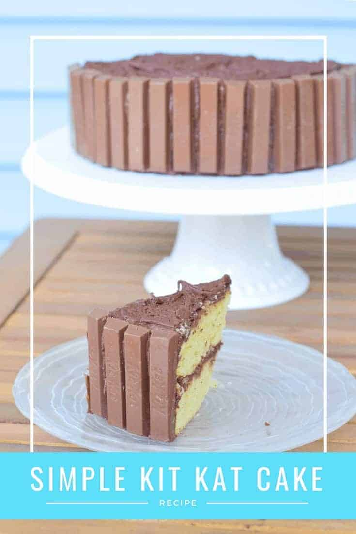Simple Kit Kat cake recipe. This homemade cake includes a tutorial for how to assemble and crate this cake. It includes from scratch recipes as well as fixes for those who want to use a box mix. This simple cake tastes great and is simple to create.