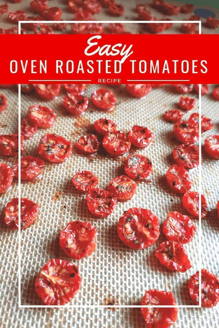 Easy slow roasted tomatoes recipe: These simple tomatoes taste almost like candy. It's the perfect use for tomatoes before they go bad. The Italian flavors pop, and they make a great addition to so many appetizers #tomato #roasted #glutenfree #appetizers