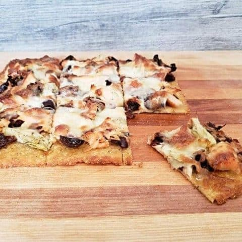 Gluten free Mediterranean pizza
