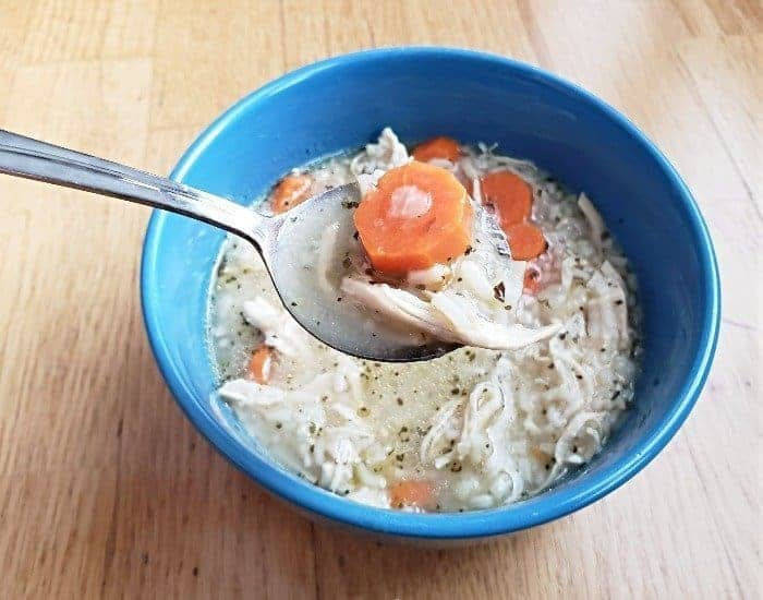 Instant Pot Chicken and Rice soup bowl
