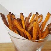 Basket of baked sweet potato fries