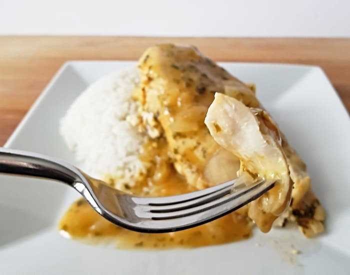 Bite of lemon garlic chicken