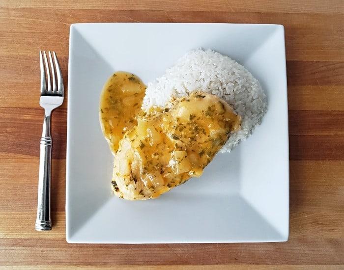Plated lemon garlic chicken