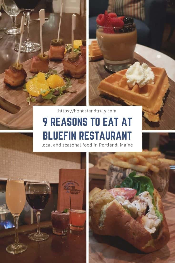 9 Reasons to eat at BlueFin Restaurant in Portland Maine. After you've had your lobster roll and whoopie pie, head to this gem in a boutique hotel for seasonal recipes and great ambiance. #BlueFin #Portland #diningout #Maine
