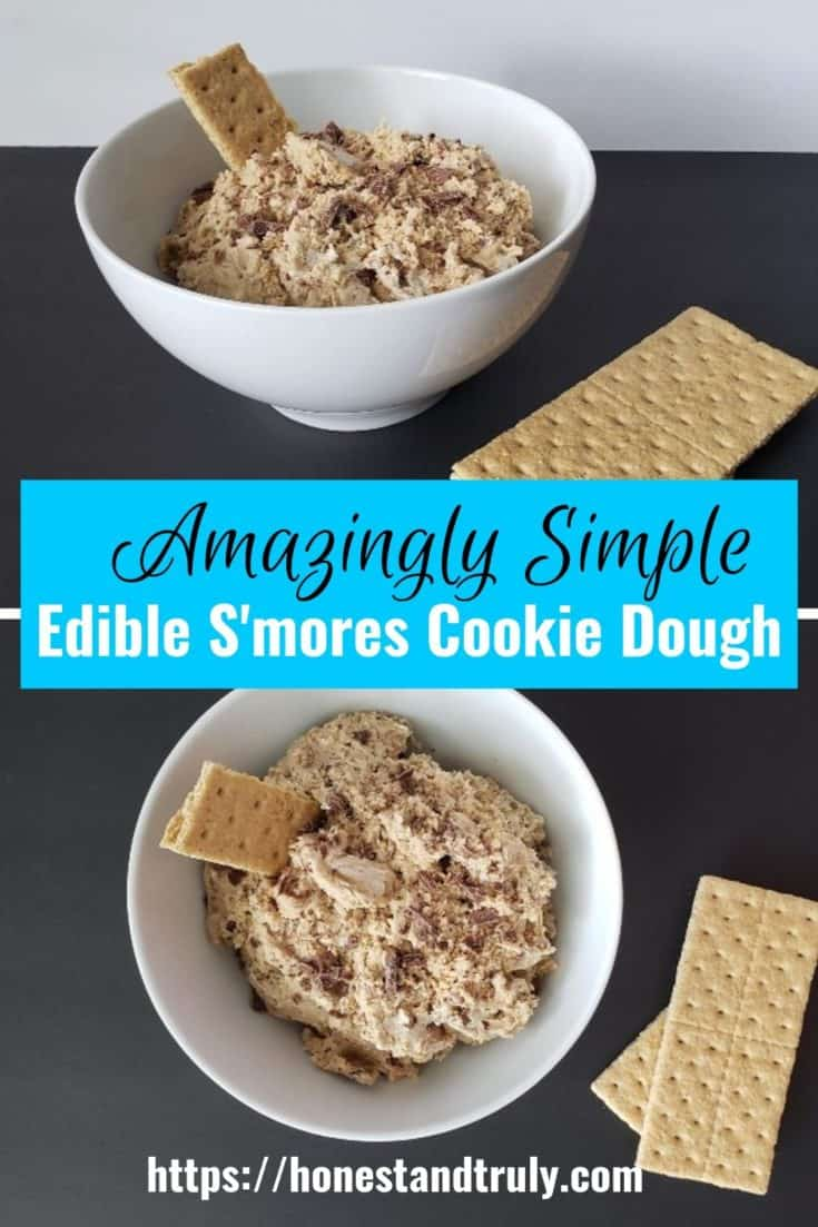Easy edible s'mores cookie dough recipe: This is so delicious and a perfect s'mores alternative. It's easy to mix up and a safe edible cookie dough recipe. The marshmallow fluff makes is fluffy like real s'mores. It's a perfect unique dessert idea! #smores #cookiedough #nobake #dessertrecipes