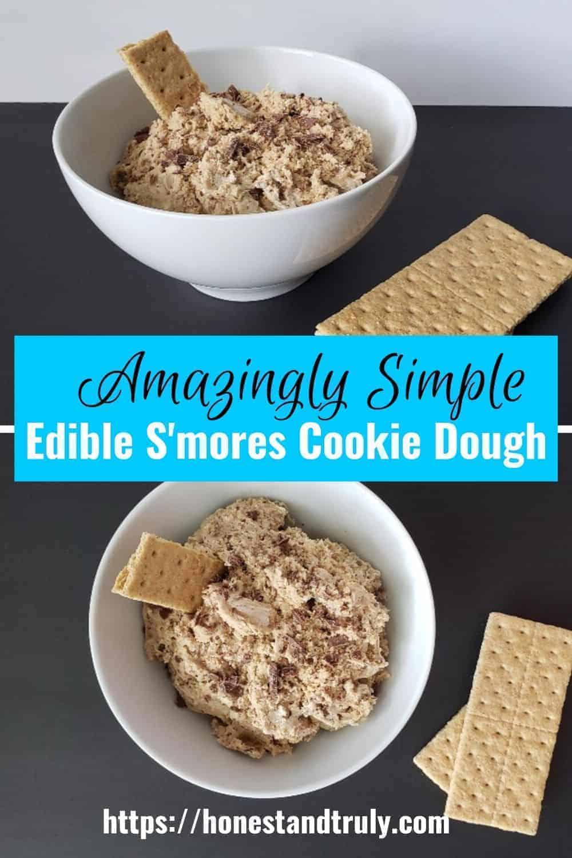 Bowls of edible smores cookie dough