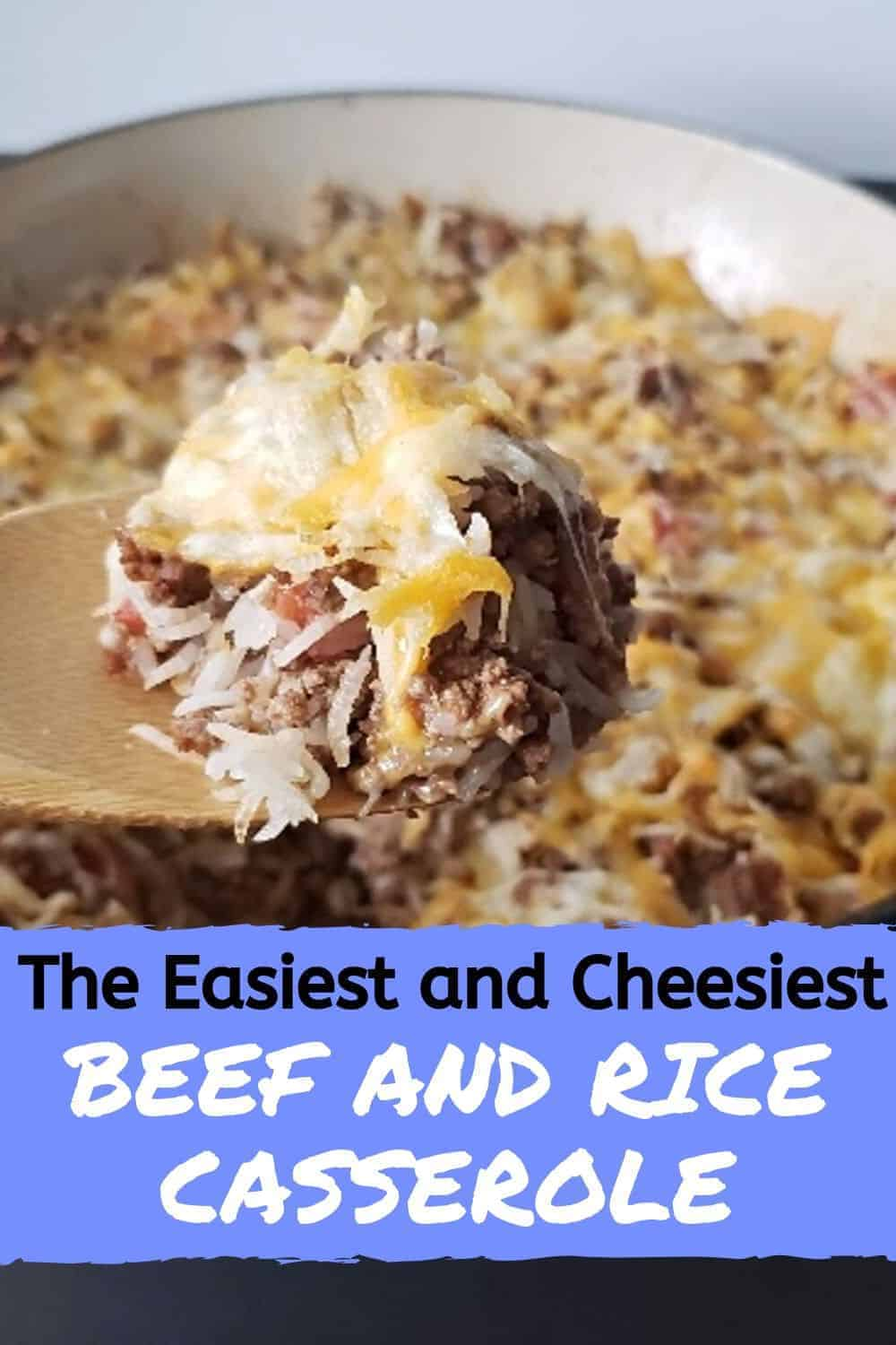 Spoon of easy cheesy beef and rice casserole