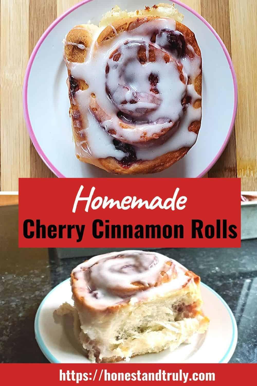 Homemade cherry cinnamon rolls ready to eat