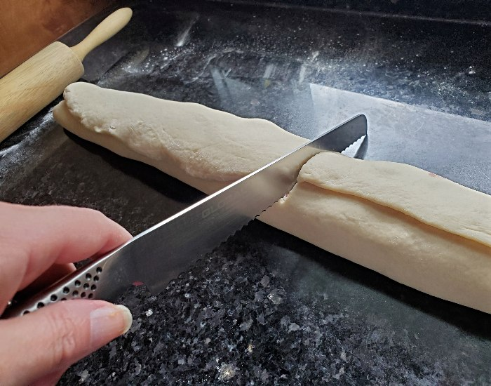 Slice with a bread knife