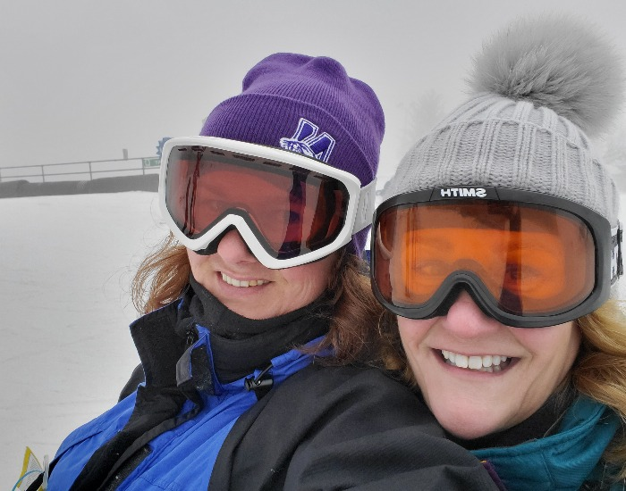 Skiing with a friend