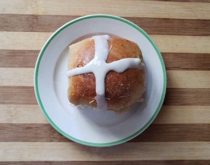 Plated hot cross bun