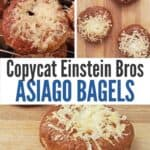 Variety of asiago bagel images in a collage