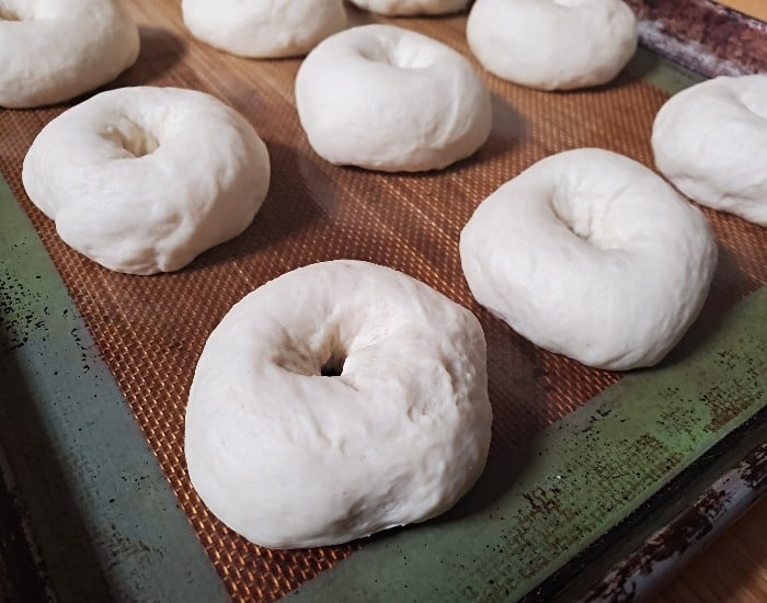 Form bagel shape and let rise again