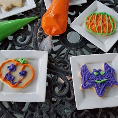 Various Halloween cookies decorated with icing