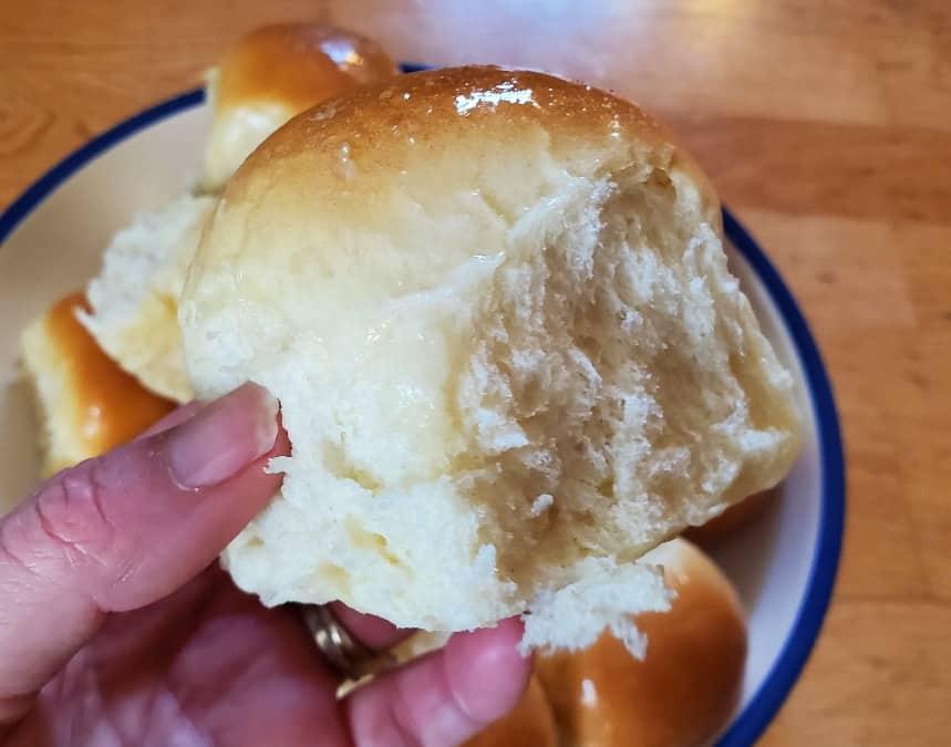 Closeup of a soft dinner roll